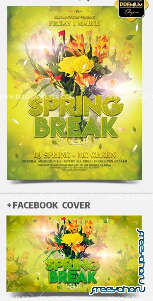 Spring Break V10 2019 PSD Flyer Template + Facebook Cover + Instagram Post