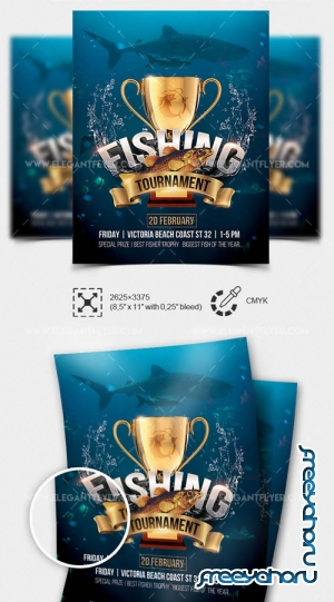 Fishing Tournament V3 2019 PSD Flyer Template + Facebook Cover + Instagram Post