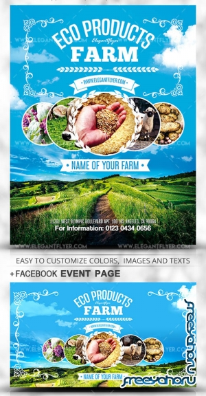 Eco Products Farm V1 2019 PSD Flyer Template + Facebook Cover + Instagram Post