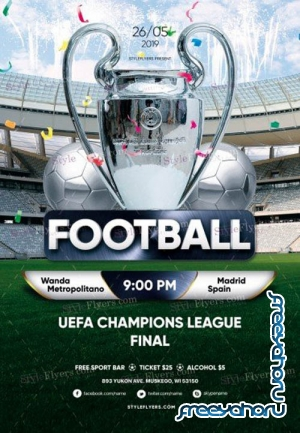 Football UEFA Champions League Final V1 2019 PSD Flyer Template