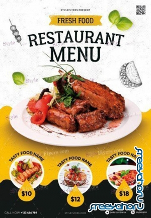 Restaurant Menu V9 2019 PSD Flyer Template