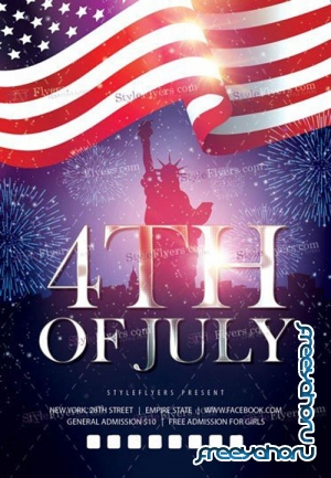 4th Of July Flyer V20 2019 PSD Template