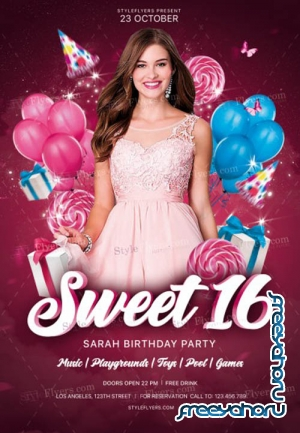 Sweet 16 V4 2019 PSD Flyer Template