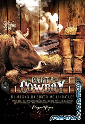 Cowboy Party V0910 2019 PSD Flyer Template