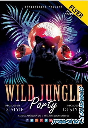 Wild Jungle Party V0911 2019 PSD Flyer Template