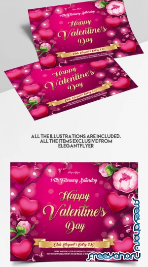 St Valentines Day V1101 2020 Premium PSD Flyer Template